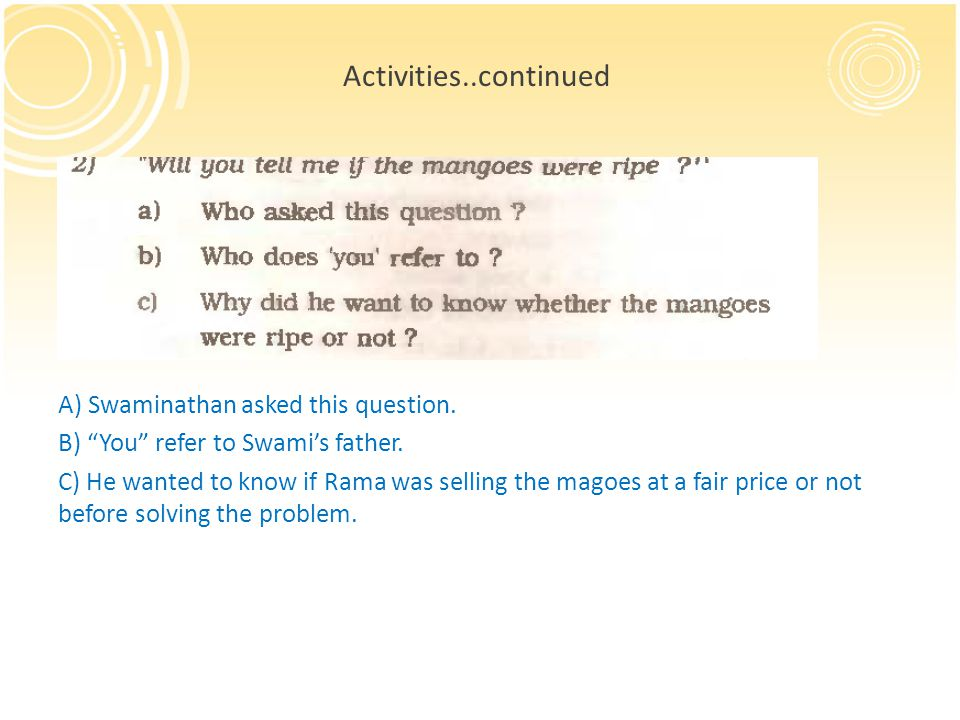 Activities..continued A) Swaminathan asked this question.