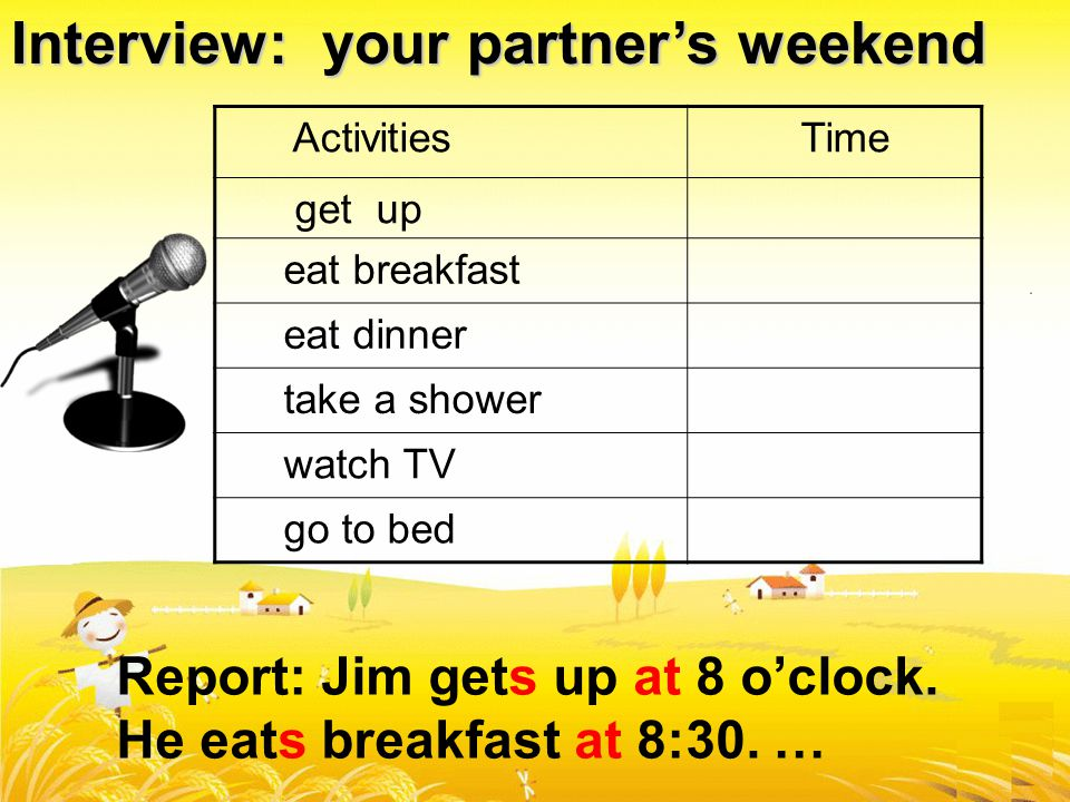 Interview: your partner's weekend