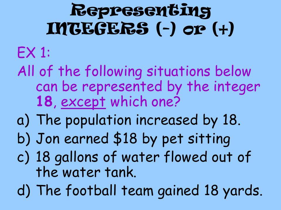 Representing INTEGERS (-) or (+)