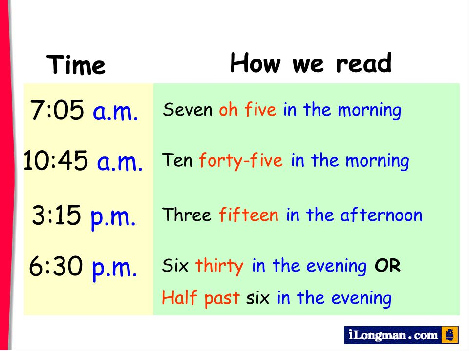 How we read Time 7:05 a.m. 10:45 a.m. 3:15 p.m. 6:30 p.m.