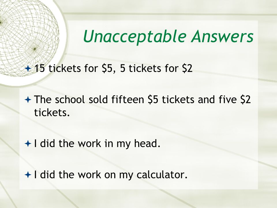 Unacceptable Answers 15 tickets for $5, 5 tickets for $2
