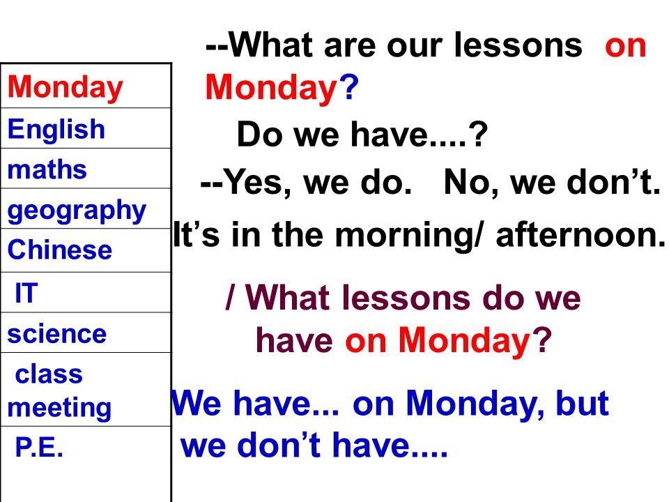 --What are our lessons on Monday