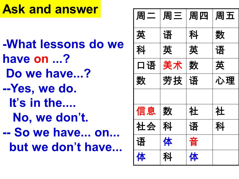 Ask and answer -What lessons do we have on ... Do we have...
