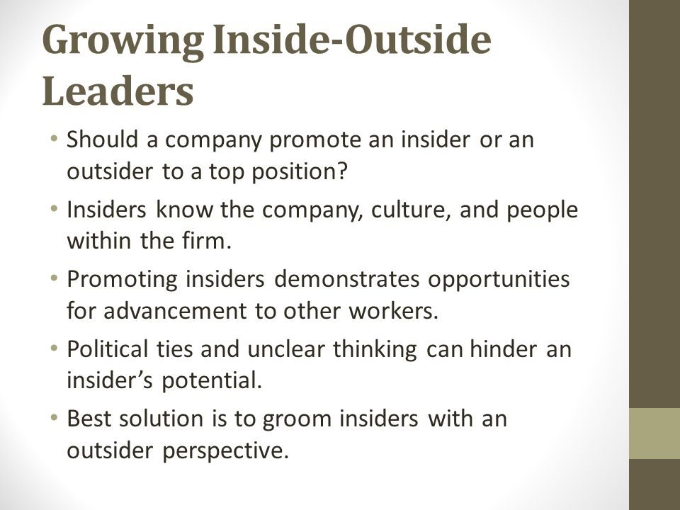 Growing Inside-Outside Leaders