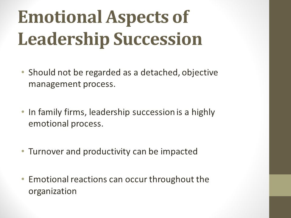 Emotional Aspects of Leadership Succession