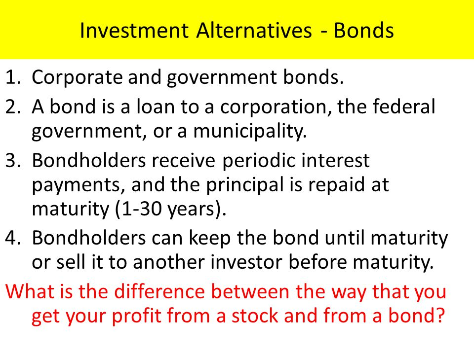 Investment Alternatives - Bonds