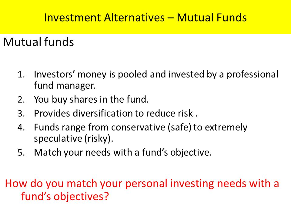 Investment Alternatives – Mutual Funds
