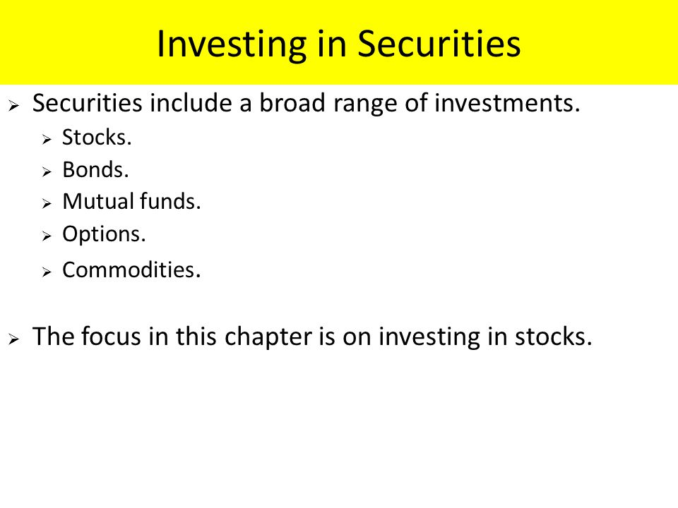 Investing in Securities