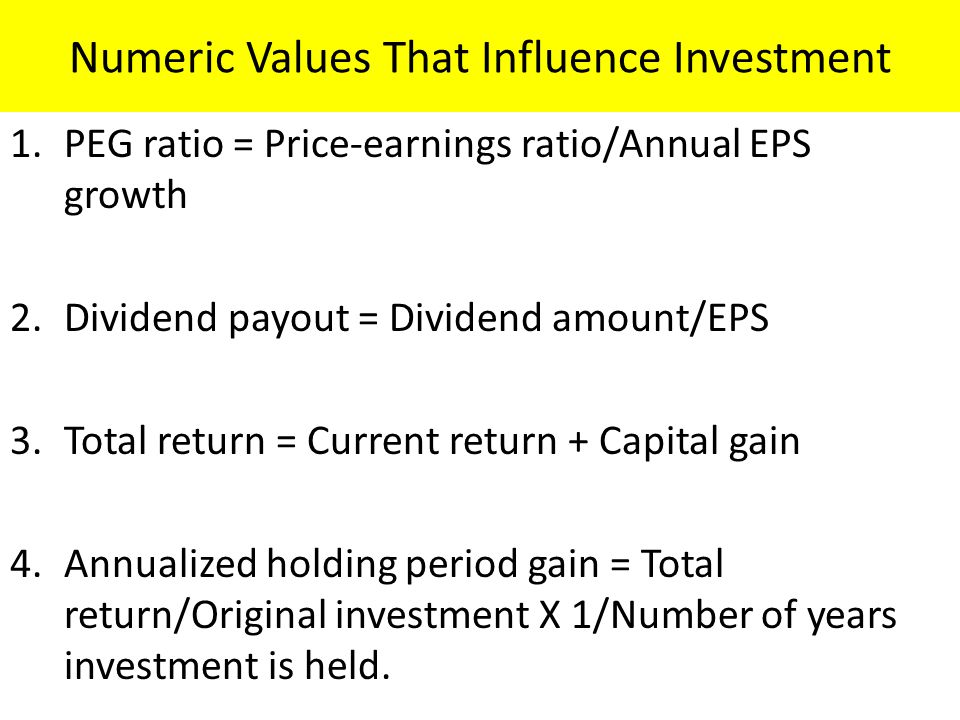Numeric Values That Influence Investment