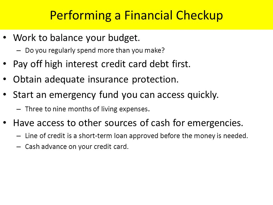Performing a Financial Checkup
