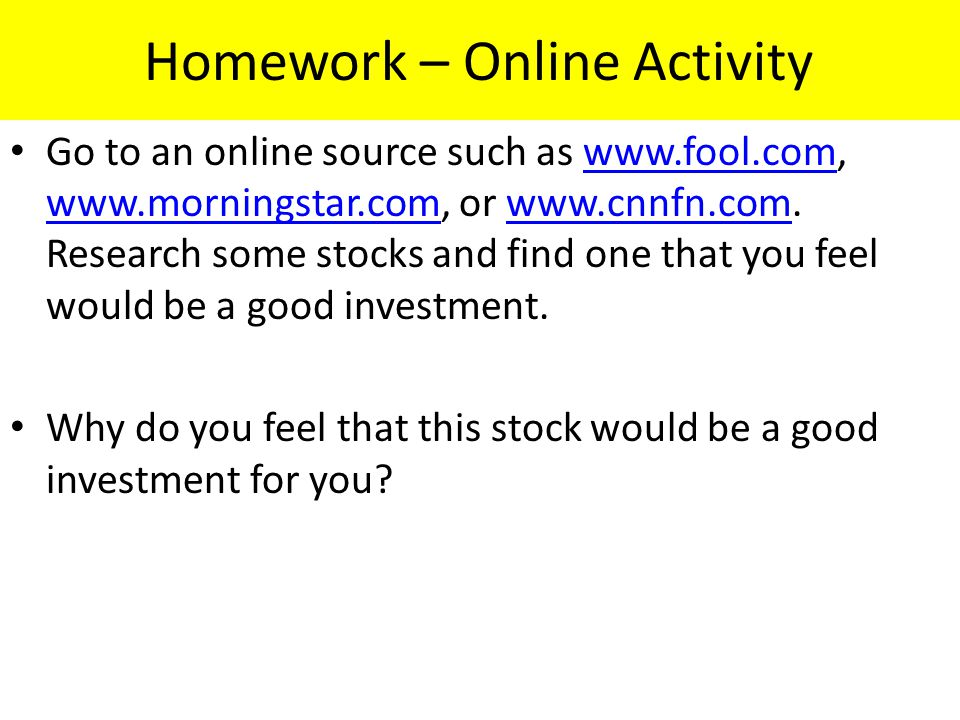 Homework – Online Activity