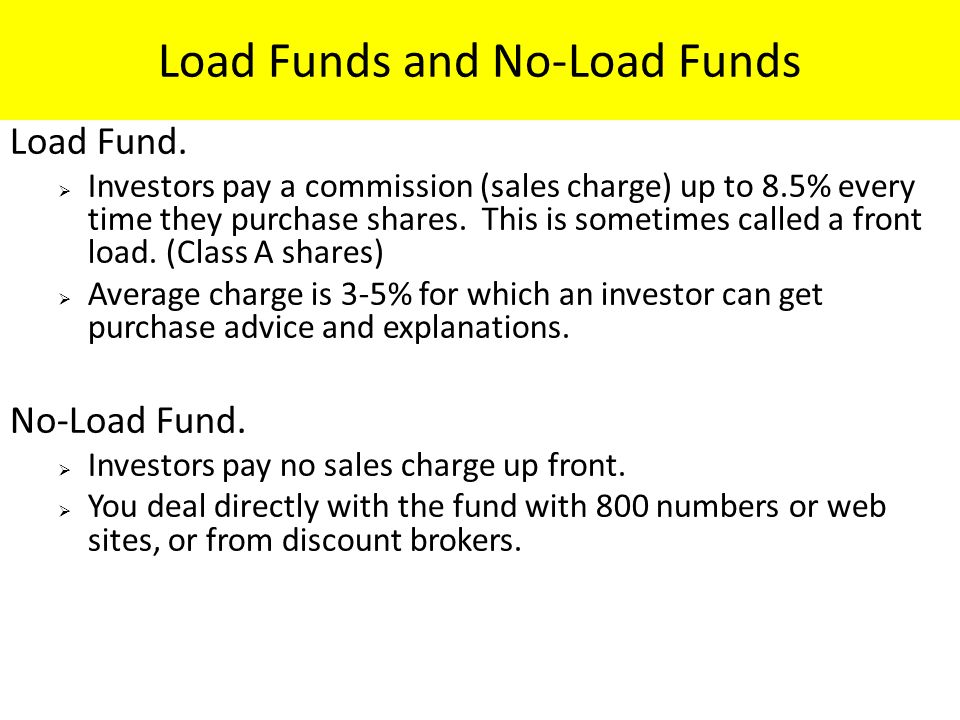 Load Funds and No-Load Funds