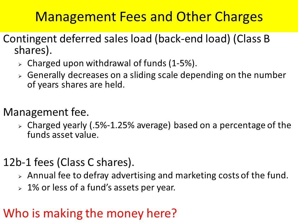 Management Fees and Other Charges