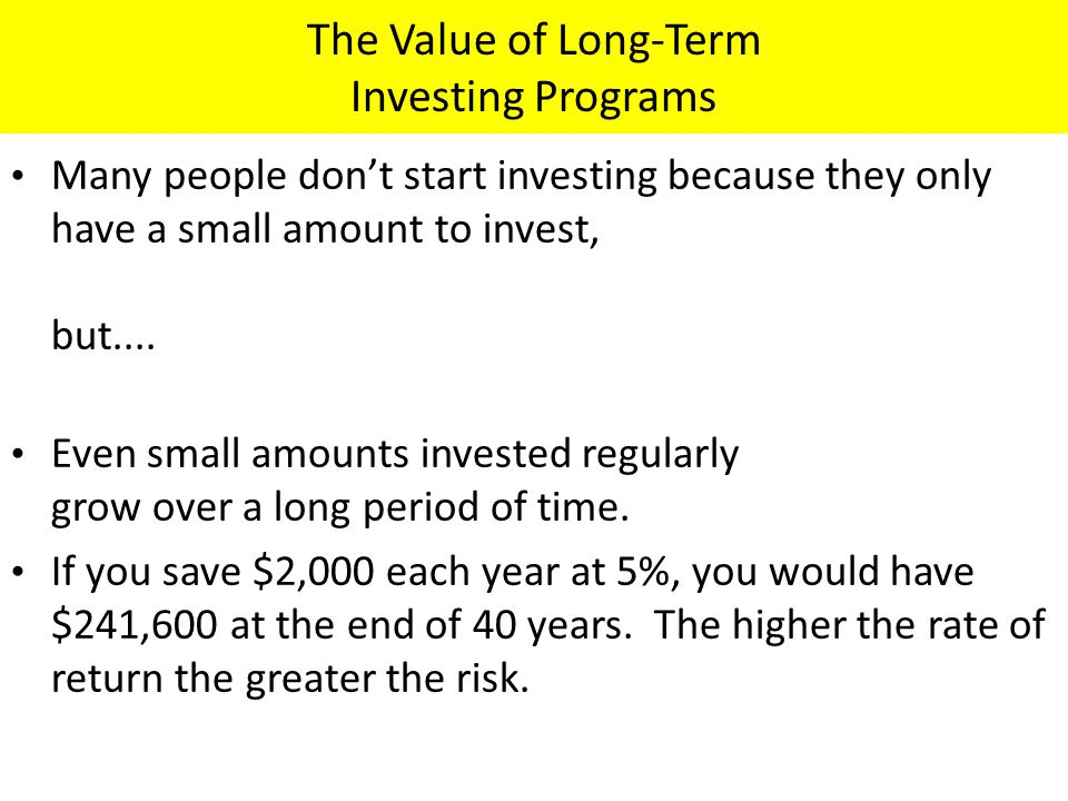 The Value of Long-Term Investing Programs