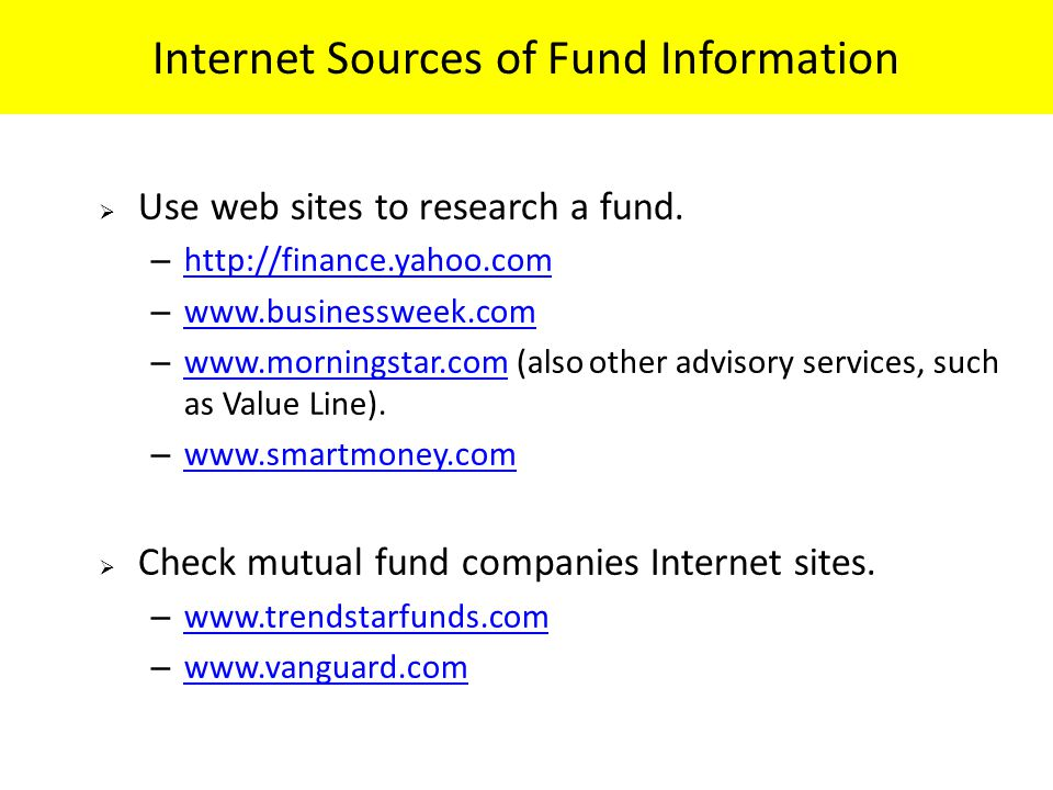 Internet Sources of Fund Information