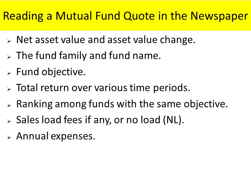 Reading a Mutual Fund Quote in the Newspaper