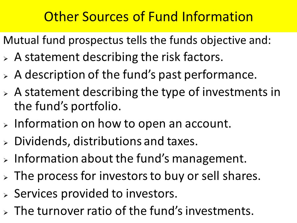 Other Sources of Fund Information
