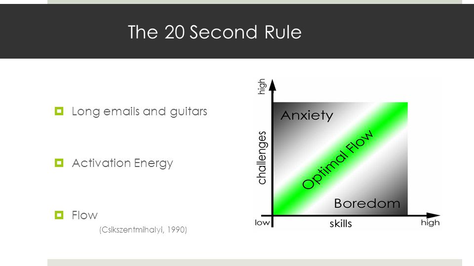 The 20 Second Rule Long emails and guitars Activation Energy Flow