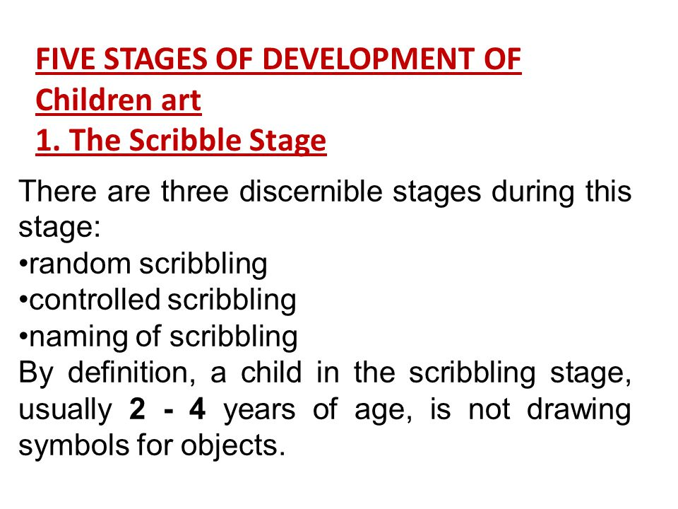 FIVE STAGES OF DEVELOPMENT OF Children art 1. The Scribble Stage
