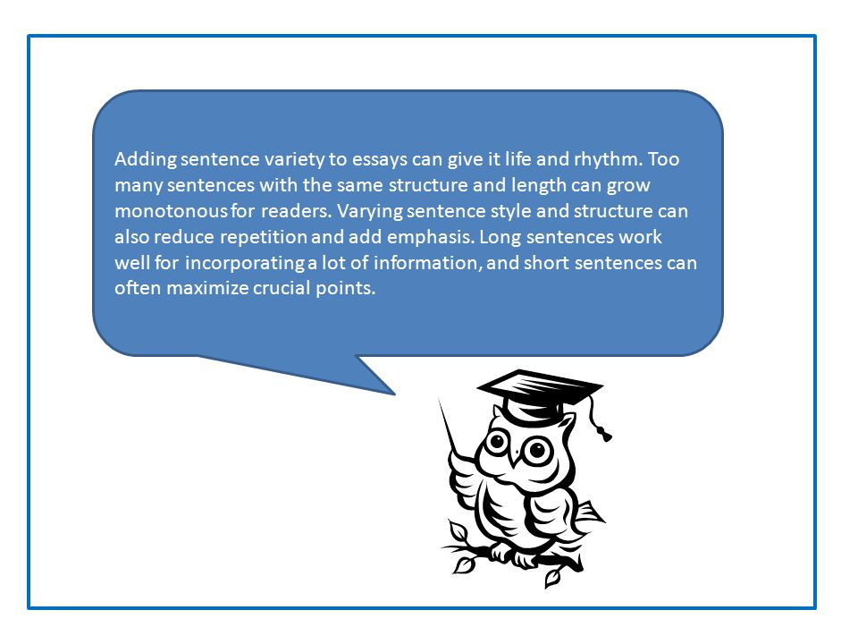 Adding sentence variety to essays can give it life and rhythm