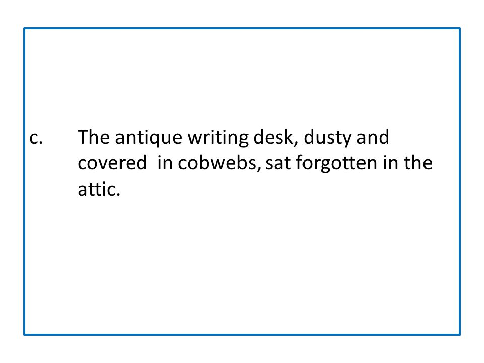 c. The antique writing desk, dusty and