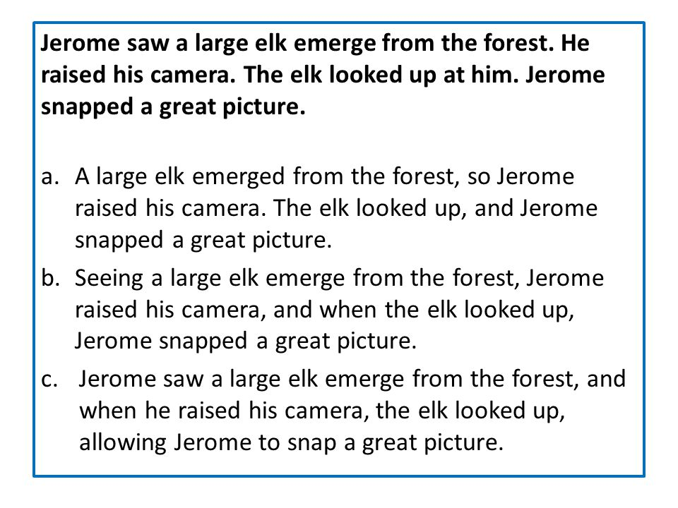 Jerome saw a large elk emerge from the forest. He raised his camera