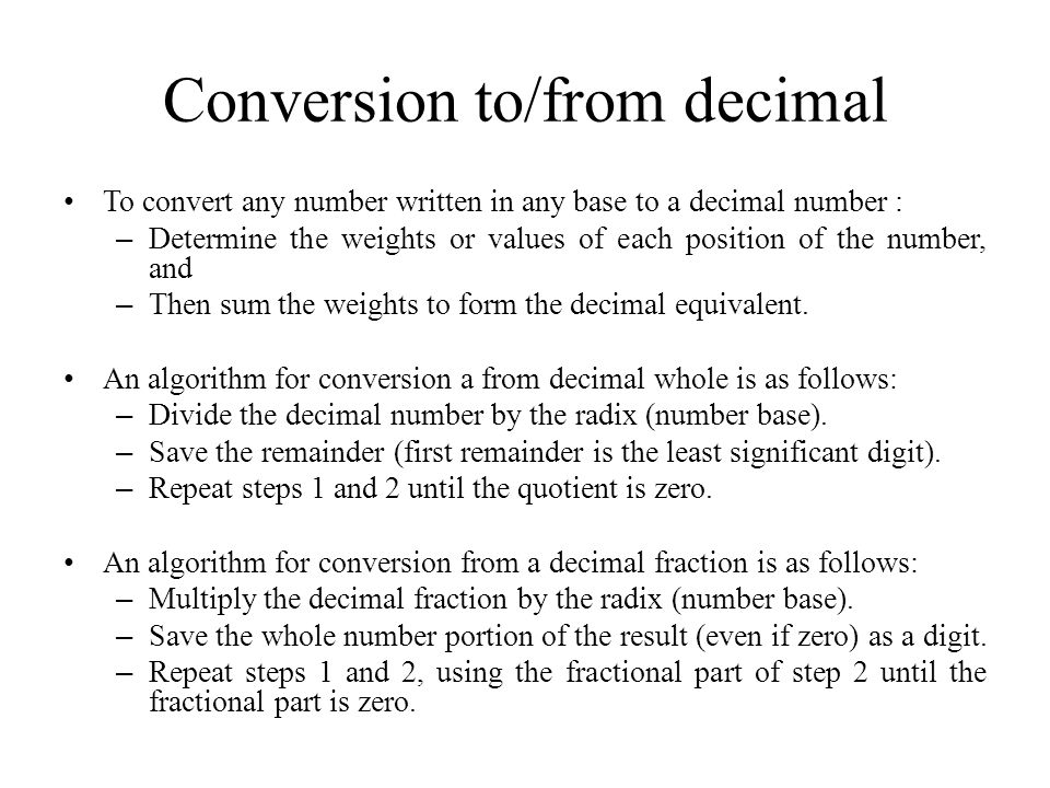 Conversion to/from decimal