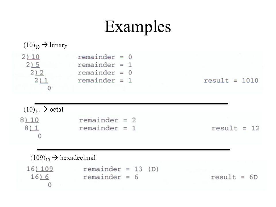 Examples (10)10  binary (10)10  octal (109)10  hexadecimal