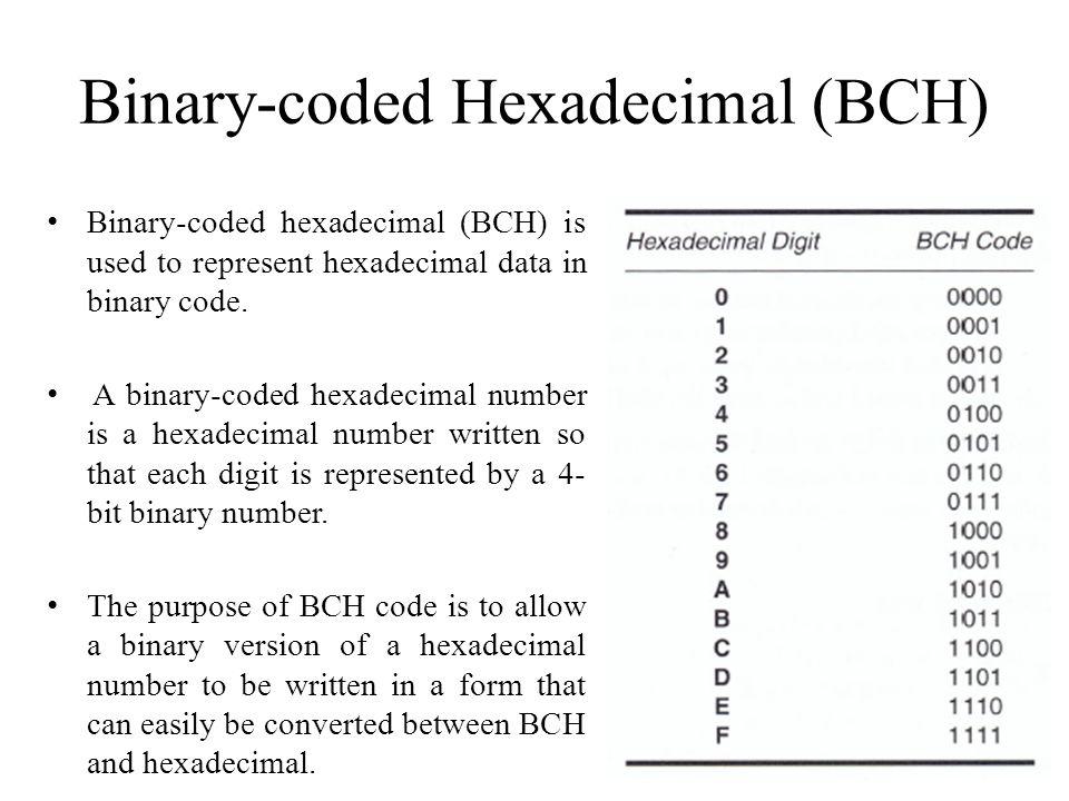 Binary-coded Hexadecimal (BCH)