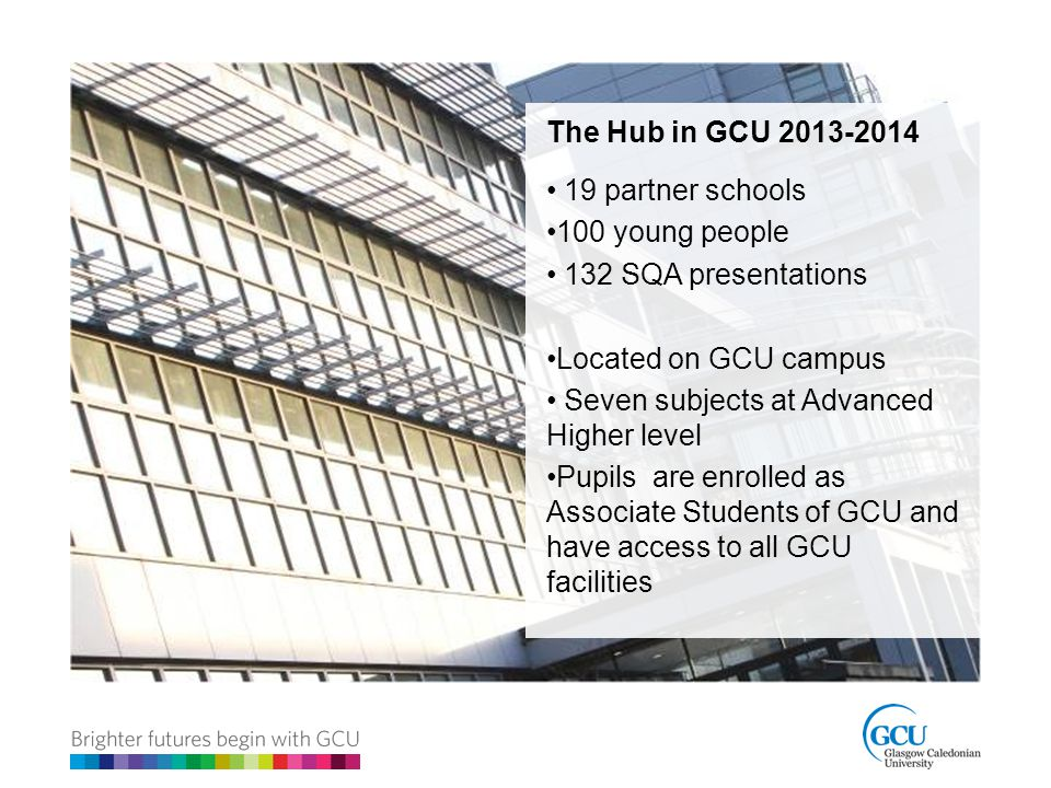 The Hub in GCU 2013-2014 19 partner schools. 100 young people. 132 SQA presentations. Located on GCU campus.