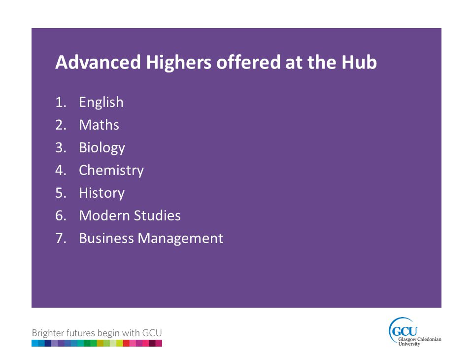 Advanced Highers offered at the Hub