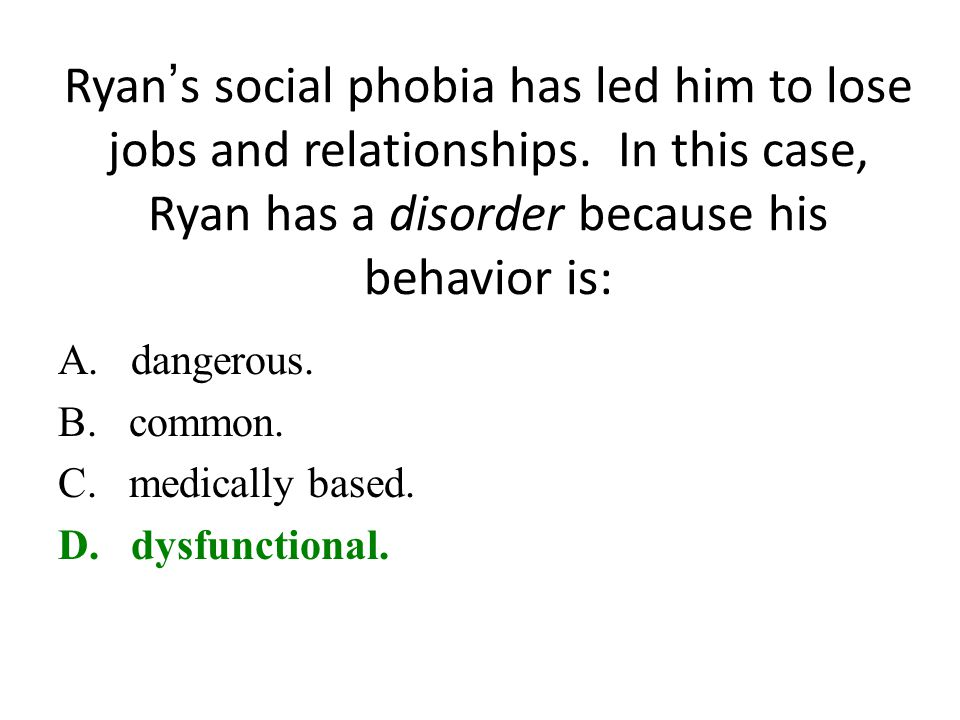 Ryan's social phobia has led him to lose jobs and relationships