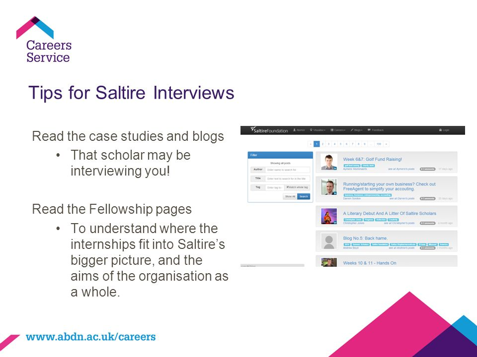 Tips for Saltire Interviews