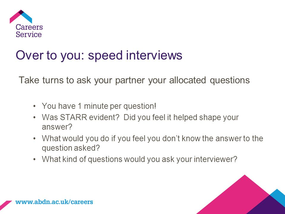 Over to you: speed interviews