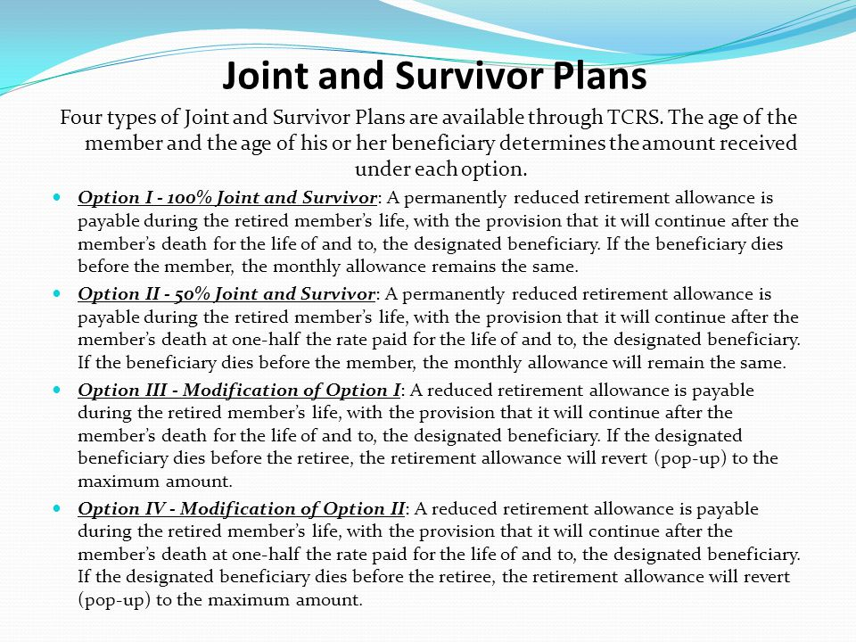 Joint and Survivor Plans