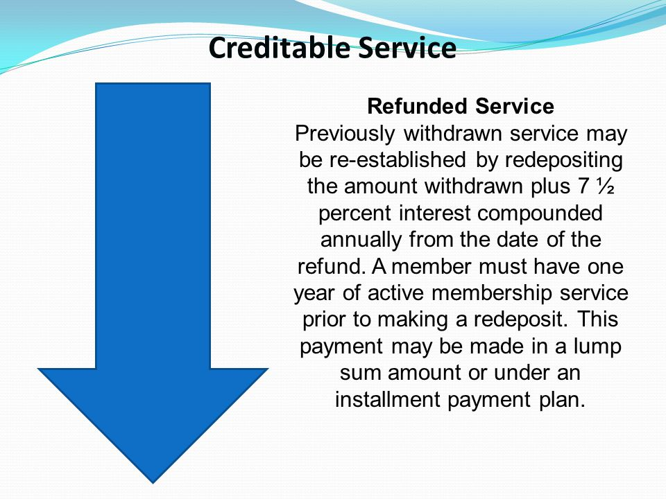 Creditable Service Refunded Service