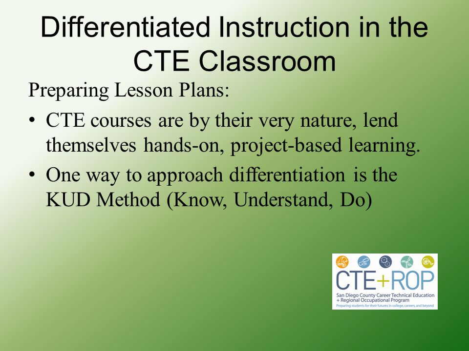 Differentiated Instruction in the CTE Classroom
