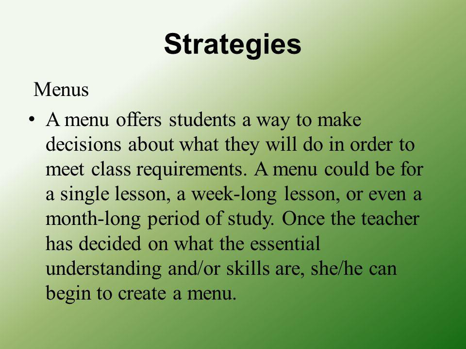 Strategies Menus.