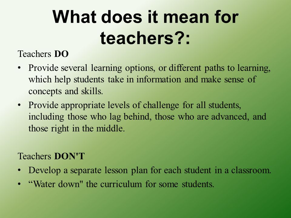 What does it mean for teachers :