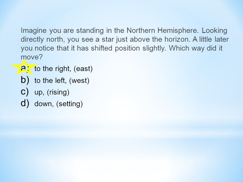Imagine you are standing in the Northern Hemisphere