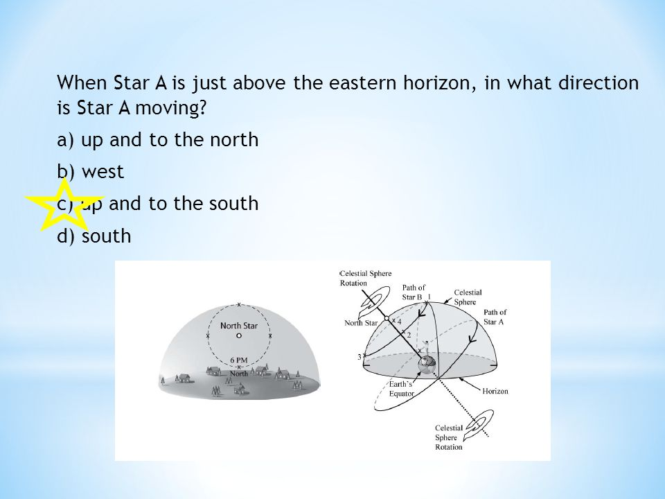 When Star A is just above the eastern horizon, in what direction is Star A moving.