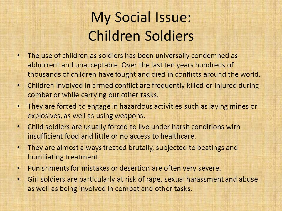 My Social Issue: Children Soldiers