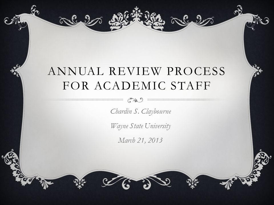 Annual Review Process for Academic Staff