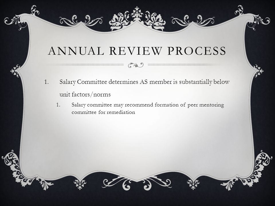 Annual Review Process Salary Committee determines AS member is substantially below unit factors/norms.