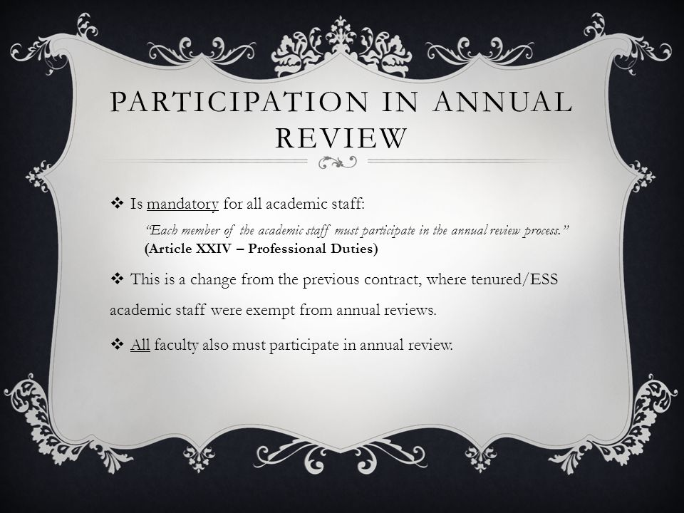 Participation in Annual Review