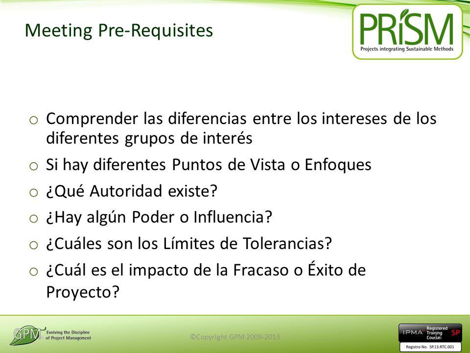 Meeting Pre-Requisites