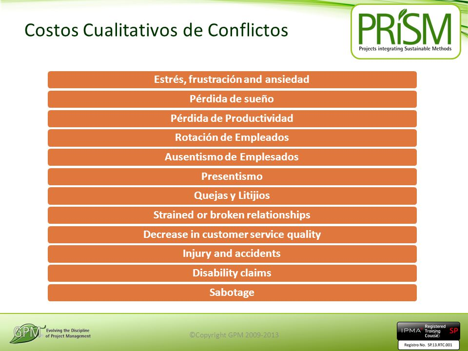 Costos Cualitativos de Conflictos