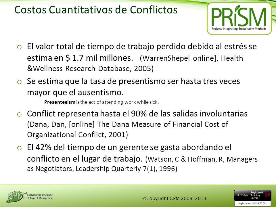 Costos Cuantitativos de Conflictos