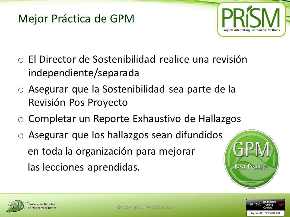 Mejor Práctica de GPM El Director de Sostenibilidad realice una revisión independiente/separada.