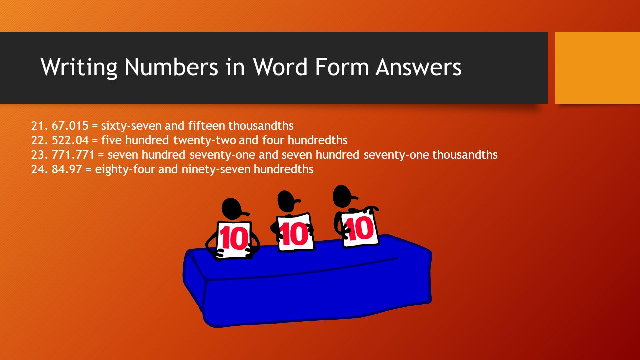Writing Numbers in Word Form Answers
